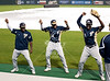 Members of the Panthers squad show their moves while they dance to some house music to pass the time and keep spirits high.  It's a rainy Opening Day at at Reckling Park as the Rice Owls host the Florida International University Panthers in D1 baseball. Rice waits it out and gets a late 7:05 start on a 4:30 game and gets in all 9, besting the Panthers in the first of 3, 6-2. Fri., Feb 17, 2012. Houston. (Kevin B Long / Associated Press)