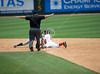 SHSU's shortstop C. Toups is called safe on a steal of second in the 3rd inning. Rice's Owls (41-19) switch to the away dugout in the elimination game against Sam Houston State's Bearkats (40-21) in NCAA regional baseball play. The Bearkats held a two-run lead through the bottom of the eighth, adding two to win 4-1. Sun., Jun. 3, 2012. Houston, Tex. (Kevin B Long / GulfCoastShots.com)