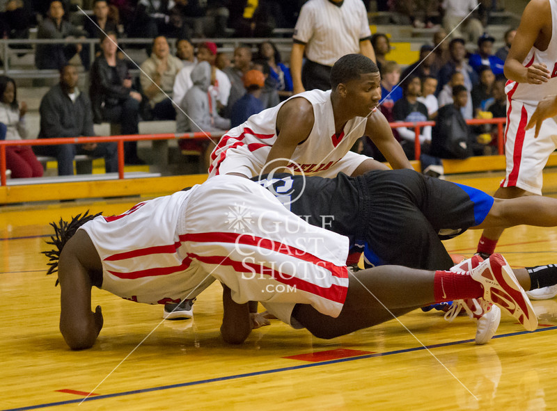The Westside Wolves play at Lamar's assigned home, Butler Fieldhouse, to take on the Cardinals in a Region 3, Division 20, UIL 5A men's basketball counter game. With playoff berths at play, Westside proved the stronger team, winning.