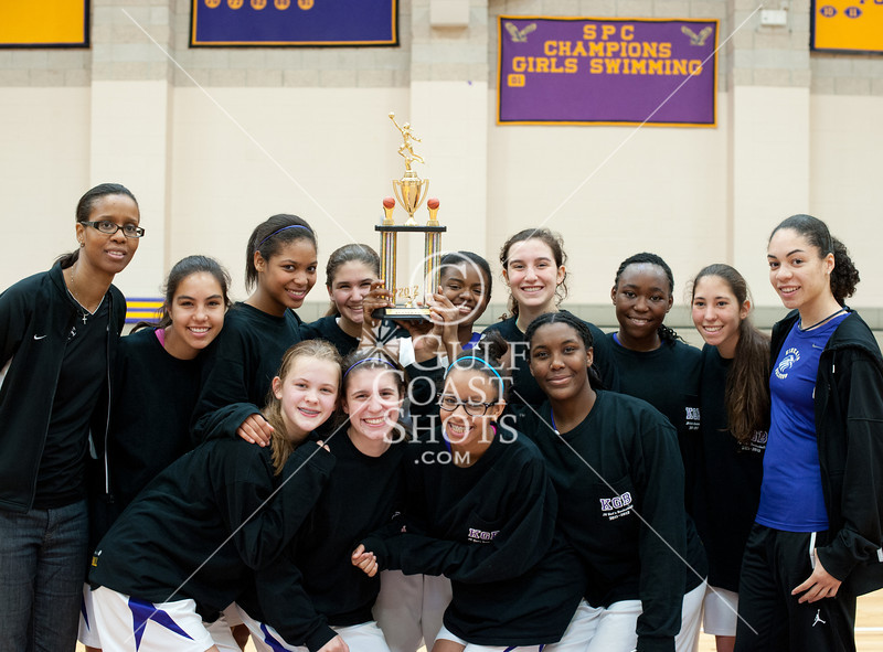 The Village School Lady Vikings take the home bench against Kinkaid at the Lady Falcon's Spring JV basketball invitational. The Vikings best the Falcons to win the championship and the trophy, 50-31.
