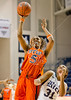 UTEP's Kayla Thornton tries a jump shot with coverage by Christal Porter for the Owls. The Miners of UTEP came to Rice to take on the Owls in a rare Sunday morning nationally-televised game the day of the Super Bowl. UTEP broke a late tie to pull ahead and win it 45-41.