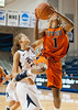 UTEP's Kim Smith tries for a jump shot defended by Rice's Jessica Kuster in the first. The Miners of UTEP came to Rice to take on the Owls in a rare Sunday morning nationally-televised game the day of the Super Bowl. UTEP broke a late tie to pull ahead and win it 45-41.