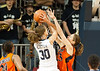 Jessica Kuster goes for the basket as UTEP's Kristine Vitola blocks. The Miners of UTEP came to Rice to take on the Owls in a rare Sunday morning nationally-televised game the day of the Super Bowl. UTEP broke a late tie to pull ahead and win it 45-41.