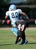 The Dolphins of Anunciation Orthodox School (AOS) of Houston play the Mavericks of St. John's in 8th grade football on Skip Lee Field. AOS wins 50-32.