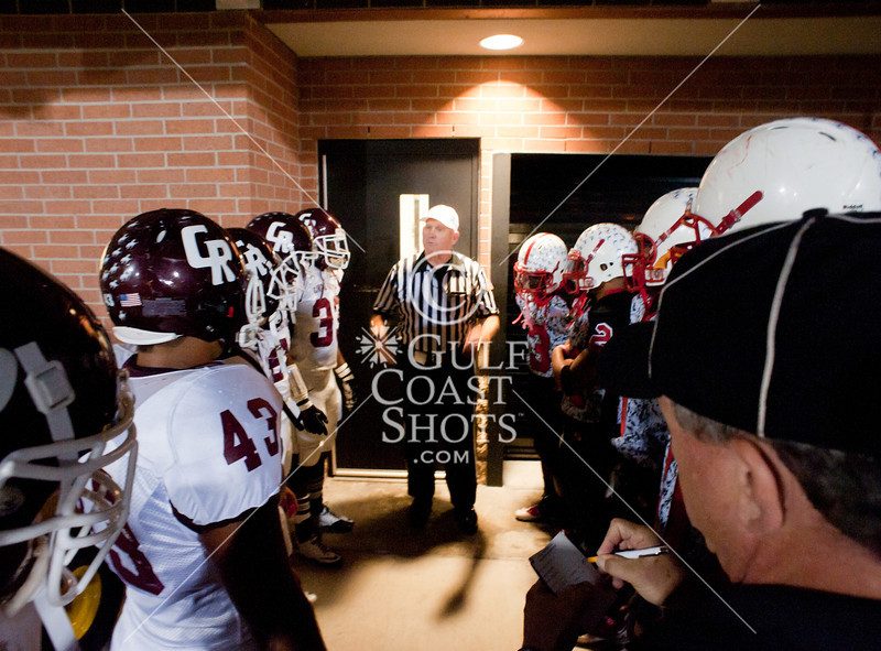 The Cinco Ranch Cougars play Bellaire's Cardinals in UIL Div 1 5A bidistrict football playoffs at Tully Stadium. The Cougs pull away in the 4th quarter to win a game where the lead changes six times, 59-28