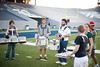 """Rice's Marching Owl Band (MOB), a """"scatter"""" band, rehearses at Rice Stadium prior to their season opener in Austin against the Texas Longhorns."""