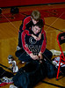 St. John's Mavericks varsity wrestlers Ryan Barbe and Sr. Captain Alexander Saucer horse around before a team portrait.