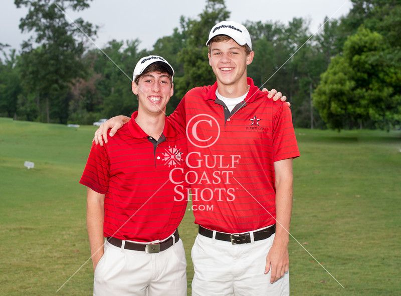St. John's varsity boys' golf team captains pose for a photo prior to taking the links for the 2012 SPC championship tournament at Woodforest Golf Club. Shown L to R: Josh Thomas and Patrick Harrell. Mon., Apr. 30, 2012. Montgomery, Tex. (Kevin B Long / GulfCoastShots.com)