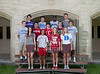 Class of 2012 St. John's Seniors who will be playing varsity athletics in college pose for a photo at year's end. Pictured L to R: Meryl Gibbs (MIT, Volleyball), Alexa Mullins (Stanford - Lacrosse), Catherine Dawson (Stanford - Field Hockey), Sarah Urdahl (Duke - Field Hockey). Second row: Nathan Whittle (Williams - Lacrosse), Zach Long (Stanford - Football), Sam Jamison (Rhodes - Track), Mark Louis (Lafayette - Baseball), Christopher Gow (Amherst - Football). Top row: David Friedman (Northwestern - Tennis), Alexander Saucer (Furman - Football), Daren Napier (Columbia - Football), and Robby Smith (Trinity - Football). Wed., May 2, 2012. Houston, Tex. (Kevin B Long / Gulf Coast Shots)