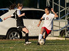 The Lady Panthers of St. Piux X play at Scotty Caven Field against the Mavericks of St. John's School in JV girls soccer. Mavs win 5-0.