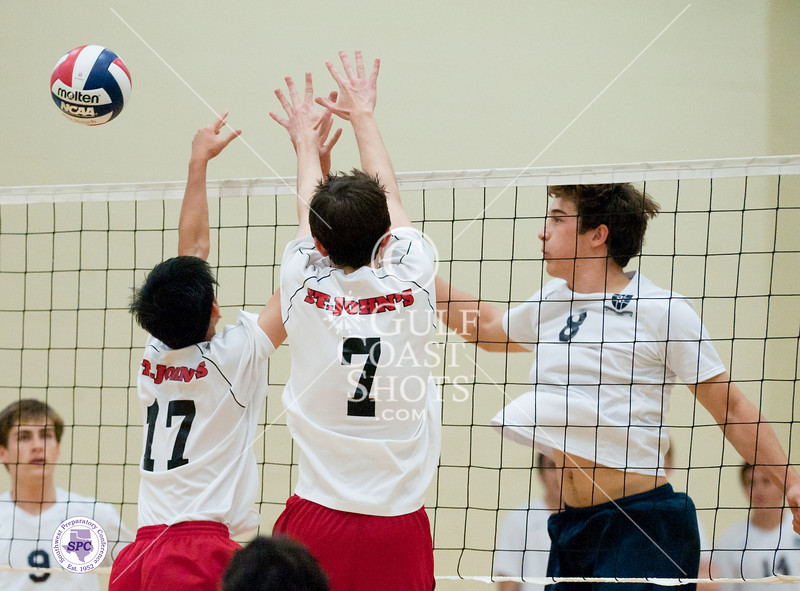 The St. John's Mavericks take on the Casady Cyclones in varsity boys SPC tournament play. Cyclones win 3-0 in Cox Gym at Greenhill.