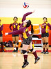 The Huston-Tillotson Lady Rams of Austin play a Red River Conference volleyball contest in Houston against the Lady Celts of the University of St. Thomas. The Celts win.