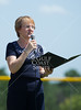 """The Honorable Barbara Bass, Mayor of Tyler, Texas, reads a proclamation from the city heralding July 21, 2012, as """"Texas East State Tournament Day in our great city,  [urging] all citizens to recognize this tremendous athletic event."""" Teams gather for the opening ceremonies of the 2012 Texas East State Little League Tournament in Faulkland Park. St., Jul 21, 2012. Tyler, Tex. (Kevin B Long / GulfCoastShots.com)"""
