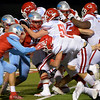 Carthage Bulldog Mason Courtney, 2, pushes across the goalline for the score against the Lumberton Raiders in the 4A Area Round Playoff Friday, Nov 22, 2019 in Lumberton, Tx. Photo: Drew Loker/Special to The Enterprise