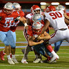Lumberton Raiders fight for yardage against the Carthage Bulldogs for the 4A Area Round Playoff Friday, Nov 22, 2019 in Lumberton, Tx.  Photo: Drew Loker/Special to The Enterprise