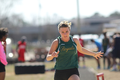 Senior Brooke Ward competes in the long jump at the outdoor track meet on Wednesday, April 2nd. Photo by Ronnie Dayvault.