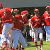 The Westview baseball team scrambles out of the dugout after the Warriors scored two runs in the bottom of the sixth to take the lead over Fairfield. Westview would beat the Falcons 2-0 on Saturday during the Class 2A Sectional 35 semifinals at Westview High School.