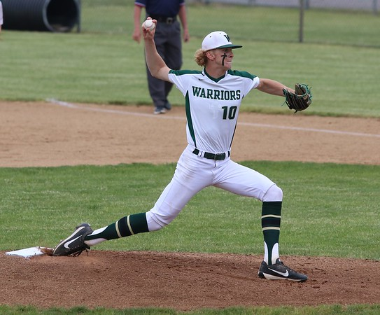 Wawasee junior pitcher Grant Brooks throws a pitch during the Warriors' 8-1 victory over Lakeland Thursday in Class 3A, Sectional 21 baseball action at Wawasee High School in Syracuse.