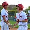 Goshen's Isaiah Park, right, gives Noah Alford a high-five after scoring late in Friday's game against Concord at Goshen High School in Goshen.