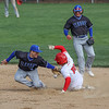 Goshen senior Reece Fisher steals second base during the first inning of play against the Elkhart Lions Thursday evening in Goshen.