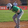 Northridge senior Cam Waters reacts to being hit by a pitch in the second inning of Thursday's game against Goshen.