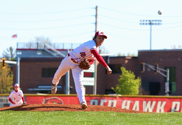 Goshen's Reece Fisher throws a pitch toward home plate early in Friday's NLC matchup against Wawasee at Goshen High School in Goshen.