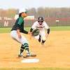 NorthWood senior Isaiah Yoder begins his slide into third against Wawasee's Kameron Salazar during Friday's game in Nappanee. Yoder would be called safe after getting in under the tag.