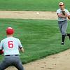STEPHEN BROOKS | THE GOSHEN NEWS<br /> Goshen senior second baseman Tito Garcia, right, makes a throw to senior first baseman Corbin Harrison, left, during Wednesday's home game against Plymouth. Goshen lost 8-6.