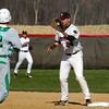 SAM HOUSEHOLDER | THE GOSHEN NEWS<br /> NorthWood first baseman Will Kirkwood, a senior, catches the ball to get out Northridge NUMBER 2 during the game Wednesday.