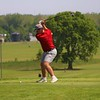 Goshen's Chase Meyer winds up before teeing off midway through Friday's boys golf sectional at Meadow Valley Golf Club in Middlebury.