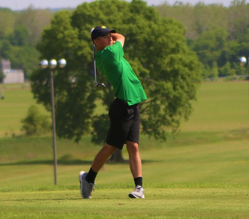 Northridge's Brock Reschly tees off during Friday's boys golf sectional at Meadow Valley Golf Club in Middlebury.