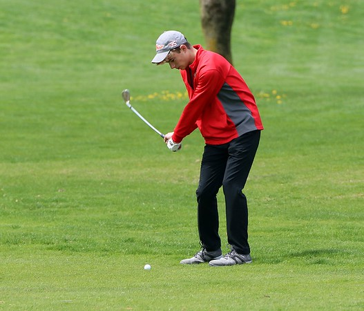 Westview's Logan Schwartz hits an iron shot on the eighth hole of the Goshen Invitational Saturday.