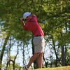 Goshen's Jackson Guipe looks on after teeing off during Thursday's nine-hole NLC matchup with Northridge and Concord. The RedHawks finished in first after shooting a 167.