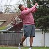 STEPHEN BROOKS   THE GOSHEN NEWS<br /> Goshen golfer Matt Truex tees off on the seventh hole at South Shore Golf Club on Saturday in the Wawasee golf invitational.