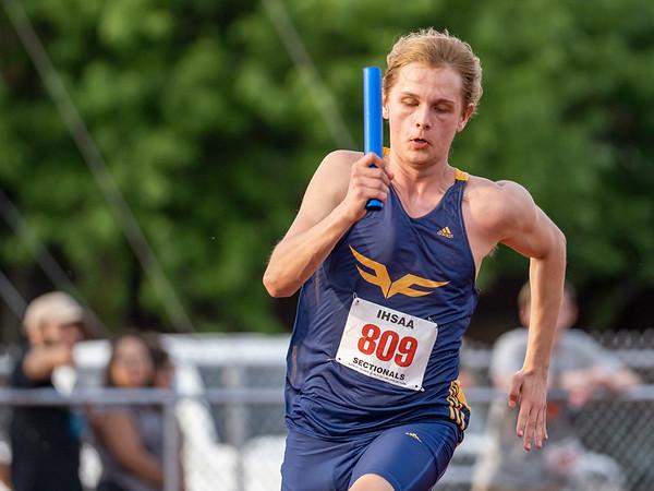 Fairfield Gabe Senders (809) runs the 4x100 meter relay during Thursday's sectional at Goshen High School in Goshen.