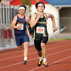 Wawasee Trey Rollins (962) wins the 4x100 meter relay during Thursday's sectional at Goshen High School in Goshen.