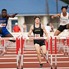 Elkhart Jaqaveion Echols (750) jumps against Northridge Mason Floria (859) and Concord Day Sean Emerson (727) in the 110 meter hurdles during Thursday's sectional at Goshen High School in Goshen.