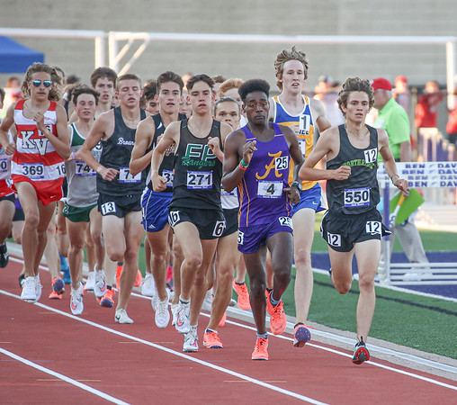 Northridge junior Jack Moore (550) takes an early lead in the 3,200-meter run at the IHSAA state boys track and field finals Friday at Ben Davis High School in Indianapolis. Moore would go on to finish the race in sixth place, earning all-state honors.