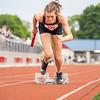 Northridge's Anna Ryman (223) prepares to run during Tuesday's regional at Goshen High School.