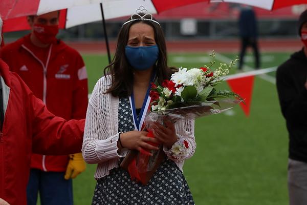 Goshen senior Sophia Koshmider gets emotional after being named the queen of the Goshen Relays on Saturday at Goshen High School.