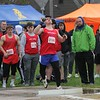 West Noble's Lucas Baker competes in the Class B shot put event at the Goshen Relays Saturday.