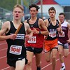 Westview's Lyndon Miller, pictured second from front, looks to catch NorthWood's Owen Allen during the Class B distance medley relay at the Goshen Relays on Saturday in Goshen.