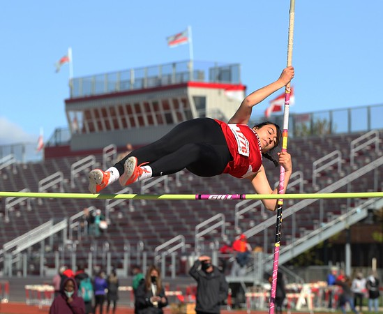 Goshen's Kayli Anglemeyer clears the bar during the pole vault competition at the Goshen Girls Relays Saturday in Goshen.