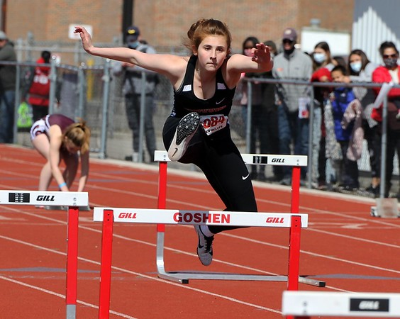 NorthWood's MacKenzie Brewer competes in the 4x100-meter shuttle hurdle relay during the Goshen Girls Relays in Goshen.