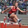 Goshen senior Megan Gallagher competes in the 4x100-meter shuttle hurdle relay at the Goshen Girls Relays Saturday in Goshen.