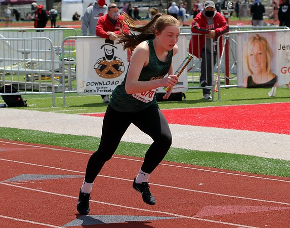 Wawasee's Dylan Konieczny starts the Class A intermediate relay for her team at the Goshen Girls Relays Saturday in Goshen.