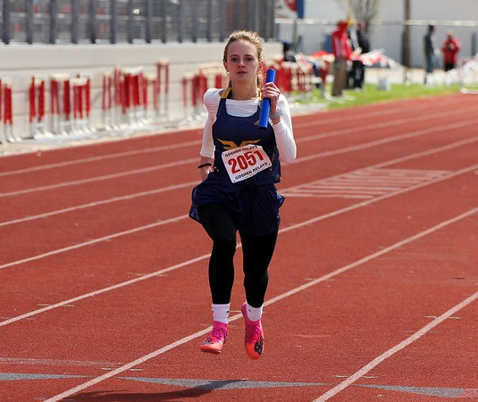 Fairfield's Maddy Yoder comes down the final stretch of the 4x400-meter run at the Goshen Girls Relays Saturday in Goshen.