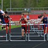 Left to right, Fairfield's Johnathan Estep, Westview's Jacob Peruski and Westview's Dom Hostetler compete in the 110-meter hurdles event during Tuesday's meet at Westview High School in Topeka.