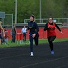 Westview and Fairfield girls compete in the 100-meter dash event during Tuesday's meet at Westview High School in Topeka.