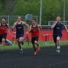 Westview and Fairfield boys compete in the 100-meter dash event during Tuesday's meet at Westview High School in Topeka.
